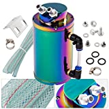 #9: Universal Cylinder Round 350Ml Oil Catch Can Reservoir Tank Neo Chrome Hose Hardware Jdm Racing Performance Upgrade Kit