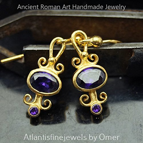 925 STERLING SILVER HANDMADE AMETHYST EARRINGS 24K GOLD VERMEIL TURKISH FINE JEWELRY