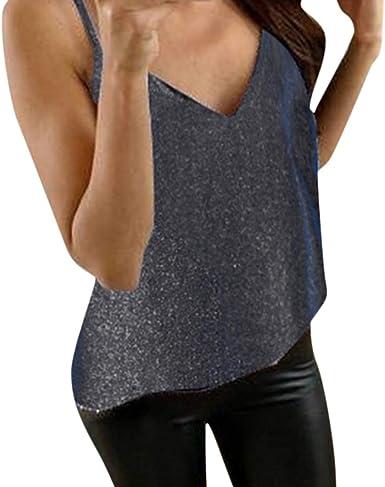 VEMOW Blusas Lentejuelas para Mujer Sólido Sin Mangas Camisetas sin Mangas Sueltas Blusa Chaleco: Amazon.es: Ropa y accesorios