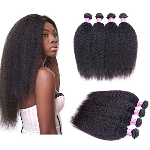 Brazilian Kinky Straight Human Hair 4 Bundles Yaki Straight Hair Weave 8A Unprocessed Brazilian Virgin Human Hair Extensions Kinkys Straight Hair Weave Natural Black Color 50g/pcs (10 10 10 10)