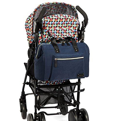PREMYO Bolso maternal con cambiador y ganchos para la silla de paseo en negro. Elegante bolso cambiador carrito bebé con bolsillo isotérmico. Bolso carro bebé moderno con cremallera y compartimentos azul