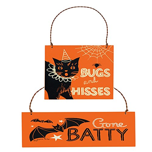 (PBK Halloween Ornament - Black Cat Bugs and Kisses Gone Batty 2pc.)