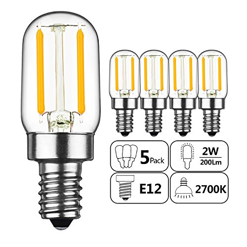 GEZEE 2W LED Filament T20 Night Light Bulb,Warm White 2700K, E12 Candelabra Base Lamp T20 Mini Tubular Shape,Refrigerator Indicator Bulb,20W Incandescent Equivalent, Non-dimmable,(5-Pack) (Light E12 Night White Base)