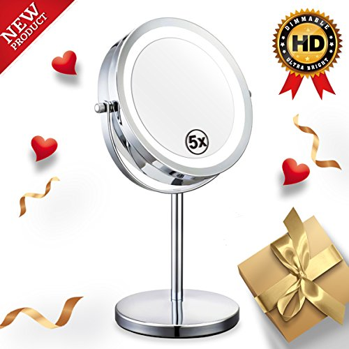 Double Sided Lighted Mirror - 7in LED Makeup Mirror With Lights,1x/5x Magnifying Vanity Mirror With Stand,Round Cosmetic Mirror for Bathroom or Bedroom Countertop,Desk Mirror With 360° Rotation (Round Vanity Mirror Stand)