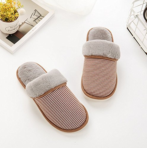 Winzik Donna Uomo Inverno Pantofole In Cotone A Righe Modello Morbido Foderato Antiscivolo Suole Coppie Pantofole Casa Caldo Scarpe Calde Marrone