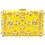 Milisente Women Clutches Pearls Evening Bag Clutch Purse Bags (Yellow)