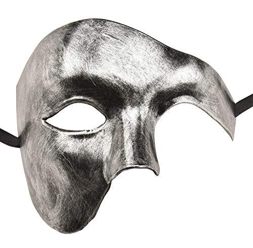 KEFAN Mens Mask Masquerade Mask Phantom of The Opera Half Face Mask (Silver Black) ()