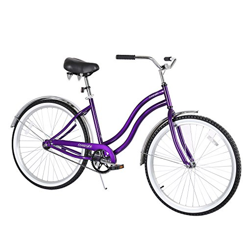 "COEWSKE 26"" Single Speed Men Women's Beach Cruiser Bicycle(Mysterious/Charm Purple)"