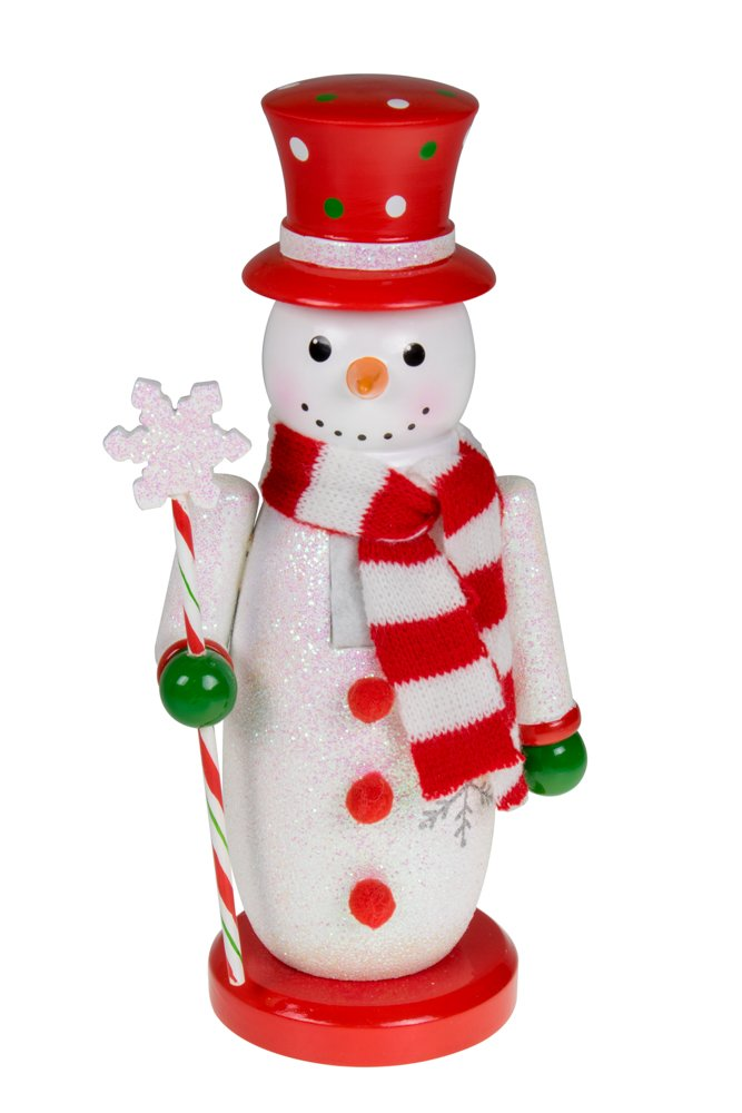 Traditional Snowman Wooden Nutcracker Decoration by Clever Creations | Red, White, and Green with Hat, Scarf, and Scepter | Premium Festive Christmas Decor | 10'' Tall Perfect for Shelves and Tables…