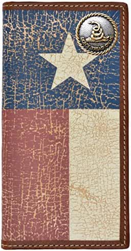 Custom Don't Tread On Me Long Wallet with a Distressed Texas Lone Star Flag