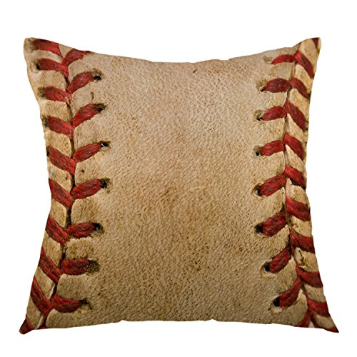 oFloral Home Decorative Retro Throw Pillow Covers,Baseball Worn Ball Pillow Case Square Cushion Cover for Sofa Bed Chair Couch Car Decoration 18 x 18 Inch Brown