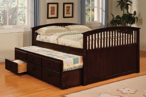 Inland Empire Furniture Bella I Cappuccino Solid Wood Captain Bed with Trundle Bed and Drawers Full