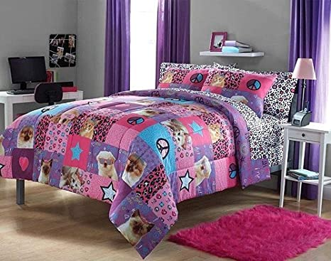 Amazon.com: Adorable 2pc Girl Pink Purple Peace Princess Leopard Puppy  Kitten Twin Comforter Set: Home U0026 Kitchen