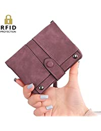 Womens RFID Blocking Soft Leather Short Wallet Card Holder Change Cash Organized Large Capacity Zipper Buckle Travel Coin Purse with Detachable Wrist Strap