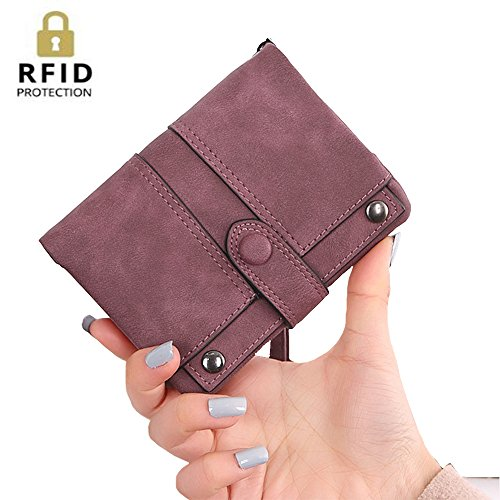 IFUNLE Womens Soft Leather Short Wallet Card Holder Change Cash Organized Large Capacity Zipper Buckle Travel Coin Purse with Detachable Wrist Strap (Wine #2) ()