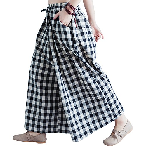 IDEALSANXUN Women's Loose Plaid Pants Elastic Waist Wide Leg Trousers (Black&White, One Size) (White Pants Plaid)