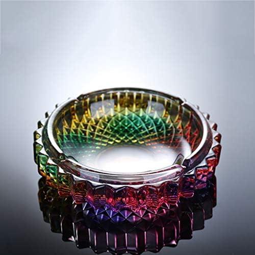 CQ ホームクリエイティブクリスタルラウンドパーソナリティグラスコーヒー色の灰皿レトロファッションリビングルームの灰皿 (Color : Multi-colored)
