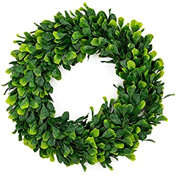 Bhappy Artificial Green Leaves Wreath Boxwood Wreath 15 inches for Outdoor Indoor Front Door Home Wall Window Wedding Farmhouse Decor