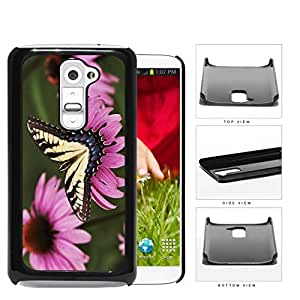 Yellow Butterfly And Pink Flower Garden Hard Plastic Snap On Cell Phone Case LG G2