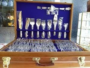 Antique Vintage Sterling Silver Flatware Tableware Thai Budha 144 Pcs Set Art
