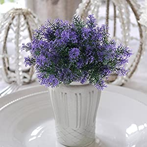 NAHUAA 4Pcs Artificial Plastic Plant Fake Greenery Shrubs Faux Bushes Bundles Indoor Outdoor Home Kitchen Office Windowsill Table Centerpieces Arrangements Spring Decorations Spray in Purple 4