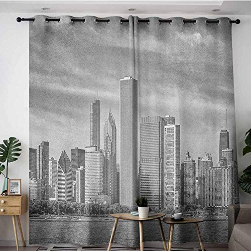 AGONIU Indoor/Outdoor Curtains,Chicago Skyline Black and White Filtered Photo of Waterfront Cityscape on a Cloudy Day Print,Curtains for Living Room,W108x108L Grey -