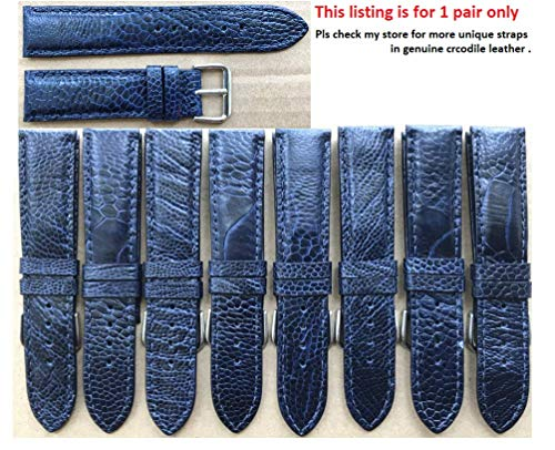 20mm Genuine OSTRICH Skin Leather Watch Strap Band for men Handmade (Navy Blue Leather/Navy Blue Stitching)