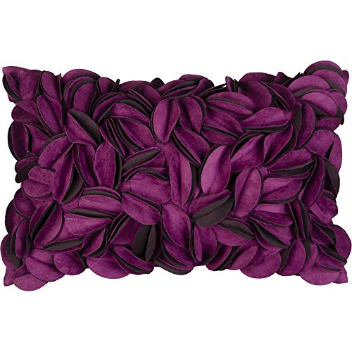 KingRose 3D Floral Home Decorative Throw Pillow Case Flower Cushion Cover for Bedroom Sofa Home Decor 12 x 20 Inches Suede Purple