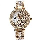 Smalody Leopard Fashion Luxury Women's Watch Casual Waterproof Ladies Quartz Watches Dress Rhinestone Wristwatch (Gold)