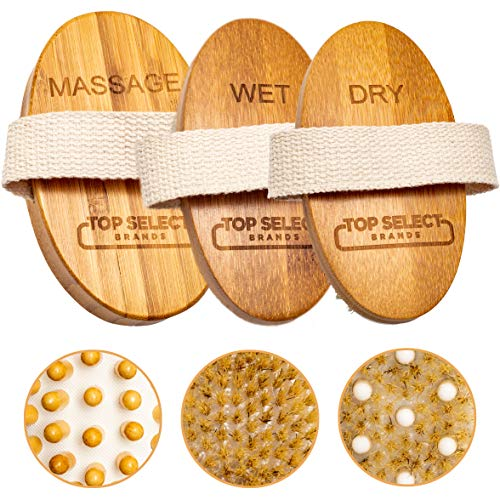(PREMIUM 3 Piece Bamboo Body Brush Set Wet & Dry Skin Exfoliation Back & Foot Scrubber Cellulite & Muscle Massager w/Travel Case )