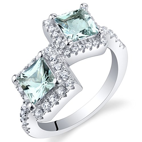 Forever Us Two Stone Sterling Silver Princess Cut Halo Ring Sizes 5 to 9 in Various Gemstones