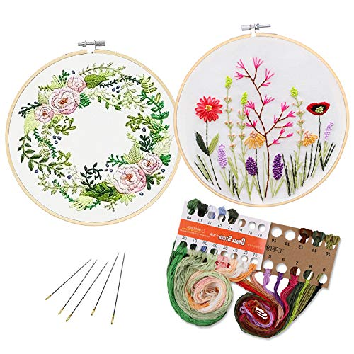 - Unime Full Range of Embroidery Starter Kit with Pattern, Cross Stitch Kit Including Embroidery Cloth with Color Pattern, Bamboo Embroidery Hoop, Color Threads, and Tools Kit,2 Pack of Garland&Fragrant