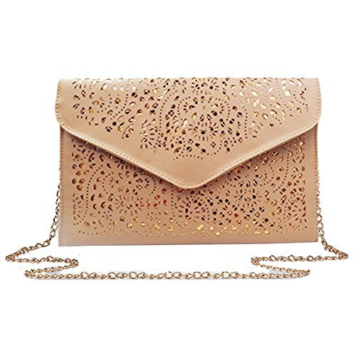 Mily Hollow Out Flower Envelop Clutch Chain Tote Shoulder Bag Handbag Beige