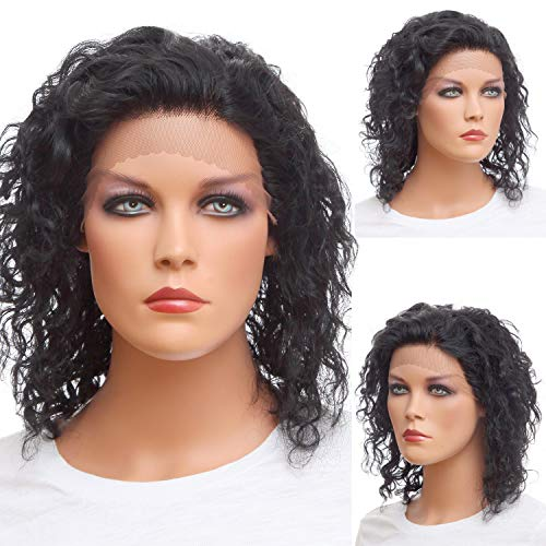 NFACE Human Hair Front Lace Wigs for Black African American Women with Brazilian Virgin Hair Shoulder Length Bob Curly Body Deep Water Wave 1b Jet Black Free Part Mommy