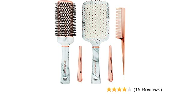Amazon.com : Lily England Hair Brush Set - Paddle Brush, Round Blow Drying Hairbrush, Comb & Clips Marble & Rose Gold : Beauty
