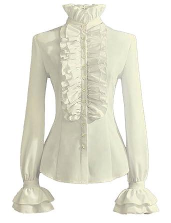fea5df9217407 PrettyGuide Women Retro Stand-Up Collar Lotus Ruffle Victoria Shirts ...