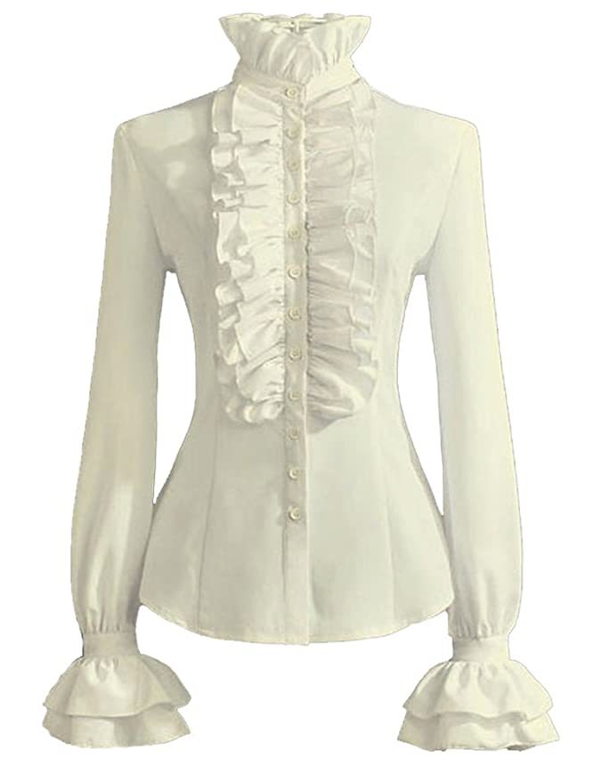 Edwardian Blouses | White & Black Lace Blouses & Sweaters Stand-Up Collar Lotus Ruffle Shirts Blouse  AT vintagedancer.com
