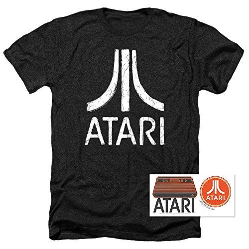 (Atari Video Game Retro Logo Vintage Gaming Console T Shirt & Stickers (Large) Black Heather)