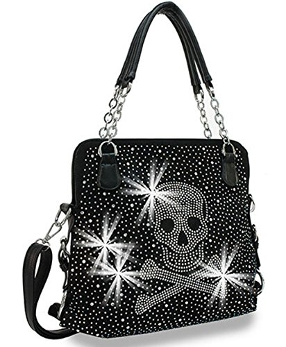 Convertable Bag (Zzfab Rhinestone Skull Purse Convertable Shoulder bag 1512 Black)