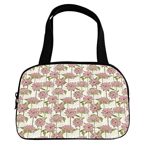 Polychromatic Optional Small Handbag Pink,Floral,Vintage Hand Drawn Chrysanthemum Symbol of Optimism and Joy Warm Colored Design Decorative,Coral Tan Green,for Girls,Print Design.6.3