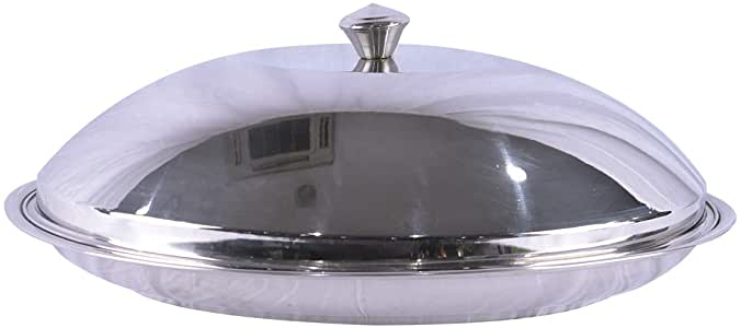 Bin Shihoun-Abomar Stainless Steel Cozy Dinner Serving Plate Oval - Silver - 55cm