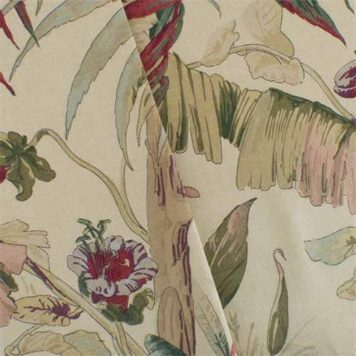 Beige/Multi Braemore Floral Print Canvas Decorating Fabric, Fabric by The Yard