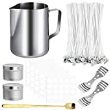 Hicdaw 206PCS Candle Making Kit DIY Candles Craft Tools Included 1PCS Candle Make Pouring Pot,100PCS Candle Wicks,100PCS Candle Wicks Sticker,2PCS 3-Hole Candle Wicks Holder,2PCS Candle Box,1PC Spoon