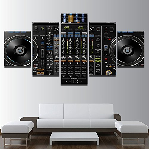 Console Picture Frame - Canvas Painting Wall Art Modular Frame Home Decor 5 Pieces Music DJ Console Instrument Mixer Pictures HD Printed Posters ,20x35 20x45 20x55cm,Frame