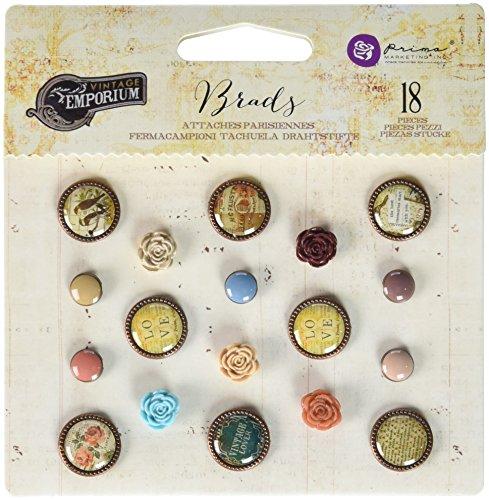 UPC 655350583842, Prima Marketing 583842 Vintage Emporium Brads (18 Pack), Multicolor