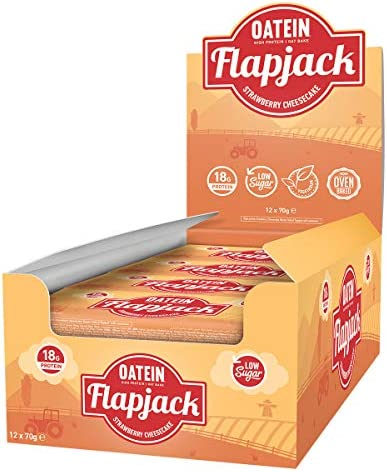 Oatein Hafer & Protein Flapjack, Strawberry Cheesecake - 12 bar, 1er Pack(1 x 100 g)