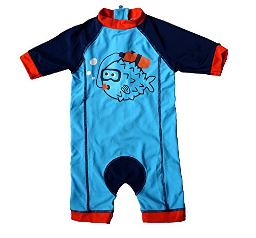 Bonverano(TM) Kids UPF 50+ Sun Protection S/S One Piece Zip Sun Suit (12-18 months, Fish)