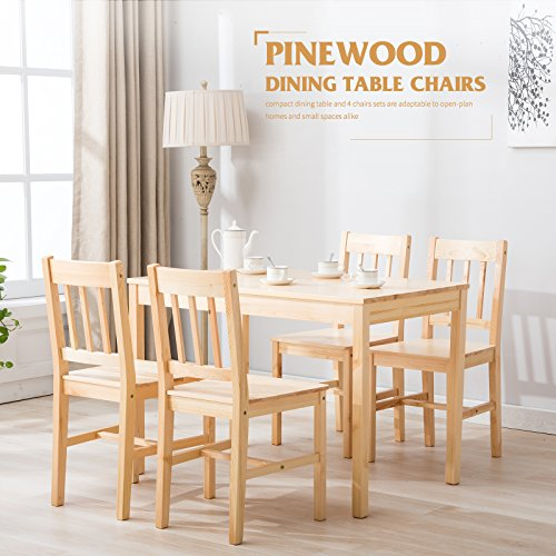 Pine Dining Room Set (4 Family Natural Pine Wood Dining Table and 4 Chairs Room Set Kitchen Breakfast Furniture)