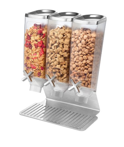 Rosseto EZ515 3-Container Snack Dispenser with Stainless Steel Stand