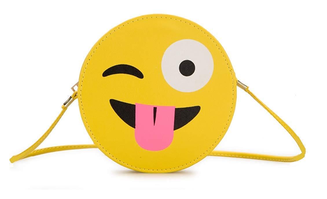 Girls Bag Plush Toy Emoji Yellow Small Circle Cross-body Casual Shoulder Bag